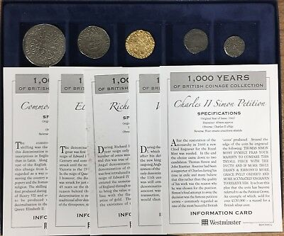 Westminster 1000 Years Of British Coinage Collection (5 Coins with Certs)