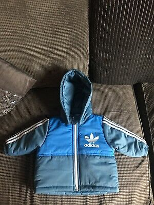 Baby Boys Addidas Padded Coat With Detachable Hood 3-6 Months