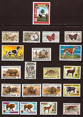 EP329 Rep.CENTRAFRICAINE 20 T. NEUFS:papillons,animaux sauvages,Zebu,lions,....