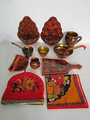 Vintage / Antique Russian USSR Khokhloma Folk Art hand painted laquered wood set