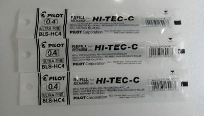 Japan PILOT HI-TEC-C BLS-HC4-B Gel Pen Refill 0.4mm Black ink(1 set=3 pens) -A