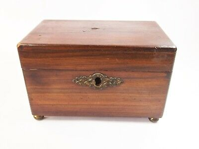 Vintage antique Victorian tea caddy box twin compartment wood wooden treen two