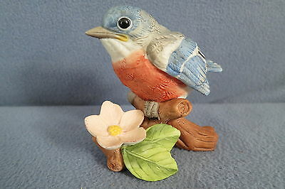 Vintage Lefton Baby Robin on Branch with Flower Figurine 06881