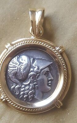 "Solid 18k Yellow Gold and Silver 1.5"" Grecian Coin Pendant Athena Nike 13.7g"
