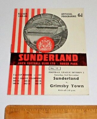 1963 SUNDERLAND vs GRIMSBY TOWN FOOTBALL PROGRAMME 2/11/63 NEAR MINT