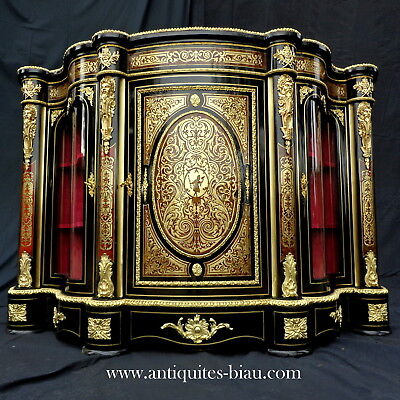 Impressive French Credenza 3 doors in Boulle marquetry 19th Napoléon III period