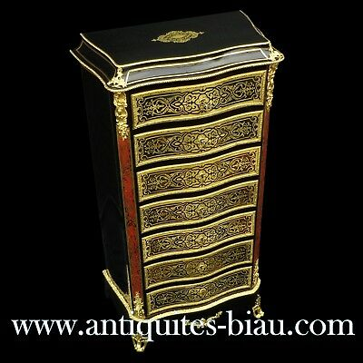 French Furniture 7 drawers in Boulle marquetry 2 colors 19th Napoléon III period