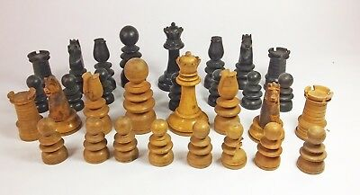 Vintage antique wooden turned chess pieces set St George