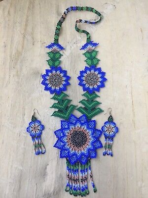 Mexican Huichol Flower Necklace With Earrings Included