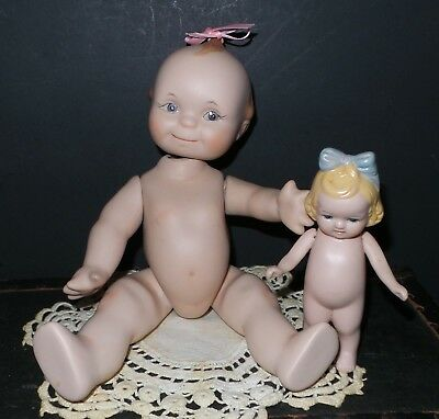 ADORABLE! Antique KEWPIE and LITTLE Girlfriend Bisque DOLLS Lot REPRODUCTION