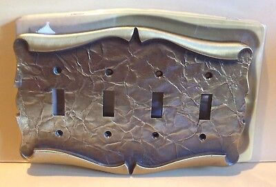 VTG AMEROCK CARRIAGE HOUSE Quadruble Switch Plate 4 Toggle Cover Antique Brass