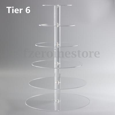 2/3/4/5/6 Tier Clear Acrylic Round Cup Cake Cupcake Stand Wedding Birthday Party