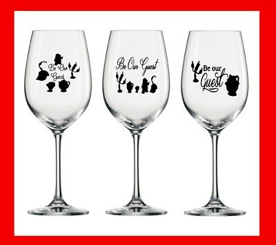 6 X Be Our Guest Stickers GLASSES VINYL DECAL TRANSFER