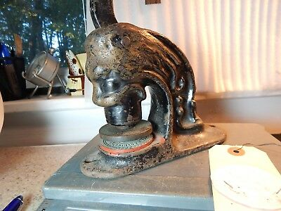 Antique Cast Iron Lion Head Figure Stamp Notary Public Seal Samuel Worthington