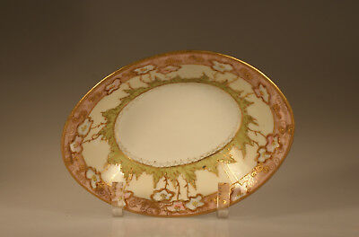 Nippon Oval Dish with Handpainted Pink and White Blossoms with Moriage, Japan