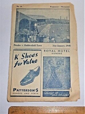 RARE 1948 DUNDEE vs HUDDERSFIELD TOWN (friendly) FOOTBALL PROGRAMME 31/1/48 fair