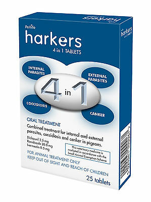 Harkers 4in1 Tablets - treatment for canker, cocci, worms and external parasites