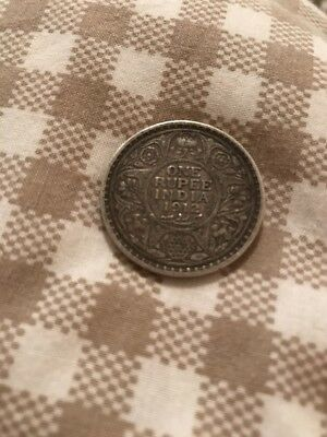 Antique Sterling Silver One Rupee British India 1912 King George