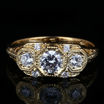 Special Antique Vintage 3 Stone Semi Mount Solid 14K Yellow Gold Wedding Cz Ring