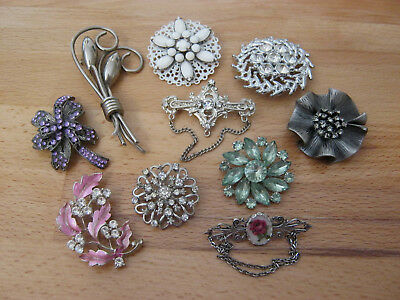 Brooch lot, small lot of 10 vintage brooches, silvertone, rhinestones & glitter