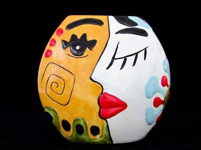 VERY LARGE Multi Coloured Hand Made Italian Art Glased Designed Face Vase