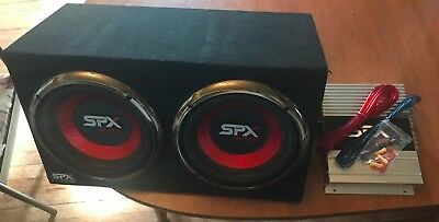 SPX AUDIO DUAL CAR BOX SPEAKERS SUB WOOFER AMP MISC WIRES 23'' by 15''