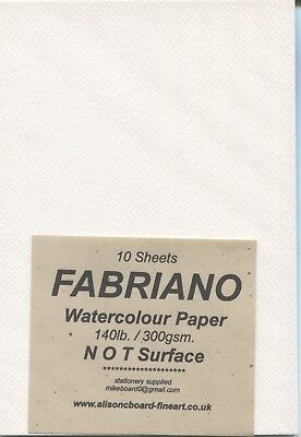 "A pack of 10 sheets "" FABRIANO "" Watercolour Paper 140lb/300gsm "" NOT SURFACE """