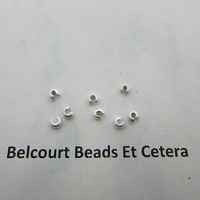 10 Pieces of 3mm .925 Sterling Silver Matt Finish Crimp Bead Covers