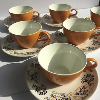 "Poole Pottery 6 x Cup & Saucer Set, ""Desert Song"" Design"
