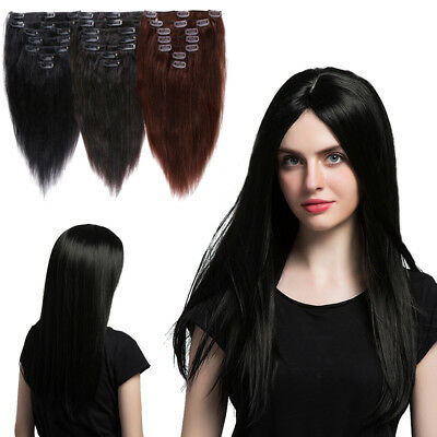 Jet Black Straight Clip in Hair Extensions Remy Human Hair Highlight Full Head