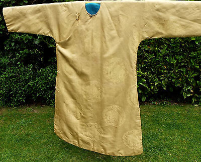 Antique Chines Yellow Gold Silk Damask Court Robe