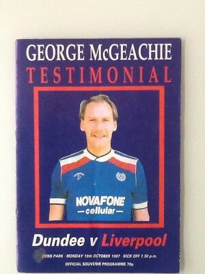 Dundee vs Liverpool George McGeachie Testimonial 19th October 1987 Programme