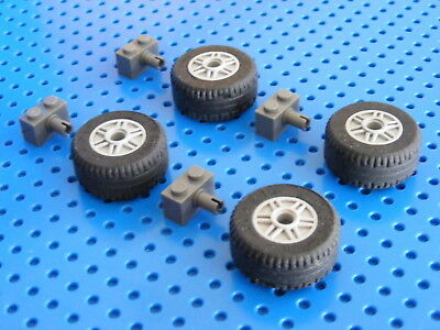 LEGO 4x Big Wheels And Tyres With Holders - Light & Dark Bluish Grey (55981c03)