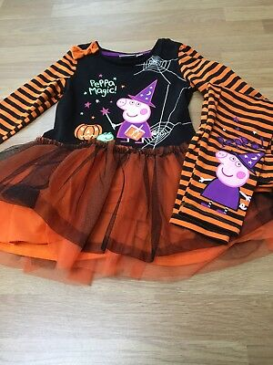 PEPPA PIG HALLOWEEN COSTUME With Leggings AGE 1-2 Baby Toddler VGC