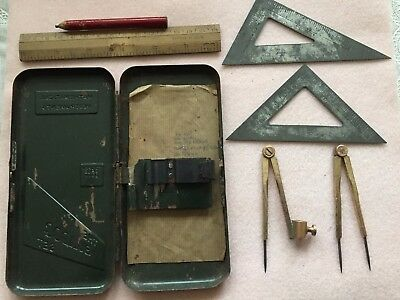 Vintage 'The Draughtsman's Set Mathematical Instruments' Tin Contents
