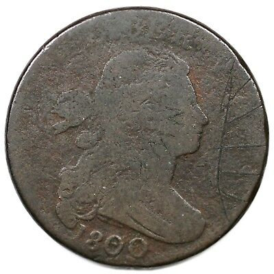 """1800 s-197 """"Q Variety"""" Draped Bust Large Cent Coin 1c"""