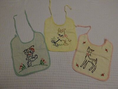 Lot of 3 Vintage Embroidered Baby Bibs