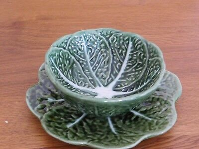 Portugal Green Majolica Pottery Cabbage Lettuce Leaf Bowl 526 and Dish