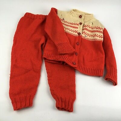 VTG 50s 60s Knit Wool Red White Sweater Set 3T 4T Boys Girls Winter Nordic Snow