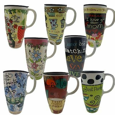 Retro Painted Cute Ceramic Large Travel Mug With Lid -Tea Cup Coffee Latte Gift