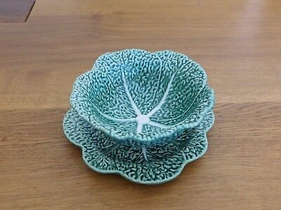 Portugal Green Majolica Pottery Cabbage Leaf Bordallo  Pinheiro Bowl and Dish