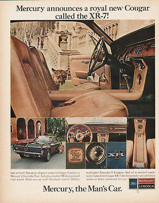 '67  Mercury Cougar XR-7- Life mag ad. Frame to to display with your car!