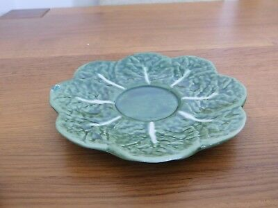3 Portugal Green Majolica Pottery Cabbage Leaf Dishes