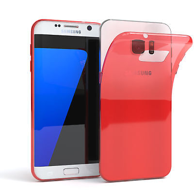 Ultra Slim Cover für Galaxy S7 Edge Case Silikon Hülle Transparent Rot