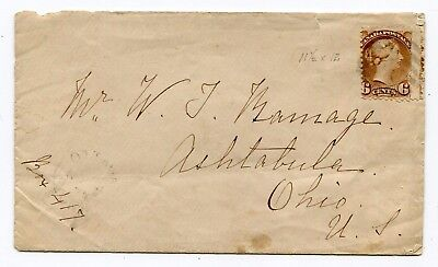 Canada ONT Ottawa 1873 Split Ring Cancel - 6c Small Queen Rate Cover to USA