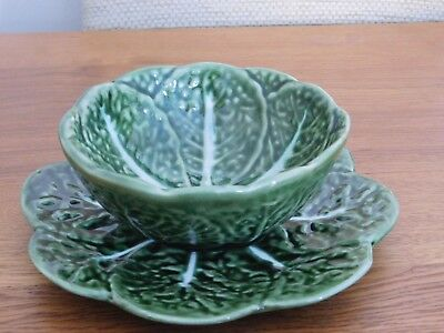 Portugal Green Majolica Pottery Cabbage Leaf Bowl and dish 526