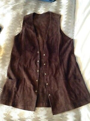 Genuine Vintage Heavy Suede Leather Brown Waistcoat 60s 70s Hippy Boho S M L