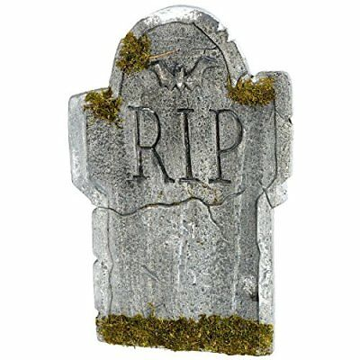 Halloween Party Decorations 22-Inch Mossy Bat Tombstone Standard Outdoor Yard