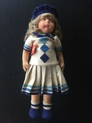 """Striking Blue Eyed Blond Lenci Girl Original Outfit- 19"""" Pre Ww2 Excellent Cond."""