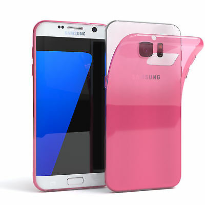 Ultra Slim Cover für Galaxy S7 Edge Case Silikon Hülle Transparent Pink
